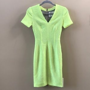 Yigal Azrouel neon yellow short sleeve dress 0
